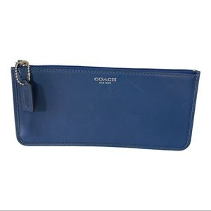 Coach Blue Leather Cosmetic Pouch